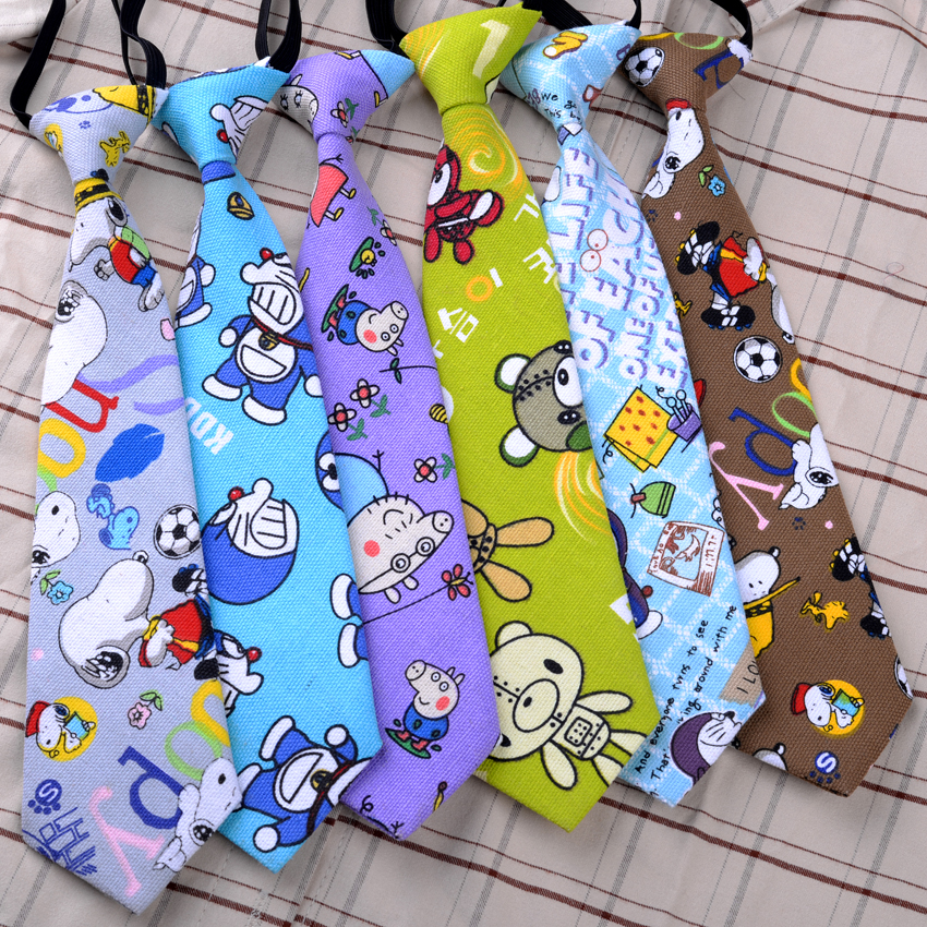 Short Small Tie Women's Cotton Ins with Creative Fun Cartoon Canvas Shirt Children's Tie Academic Style Kids Tie