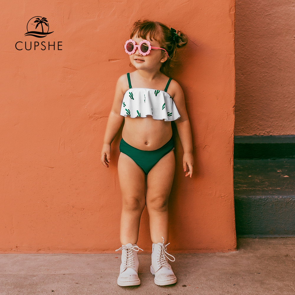 CUPSHE Green Cacti Print Bikini Sets For Toddler Girls And Girls 2020 Kids Children Swimsuits Swim Bathing Suits 2-13 Years