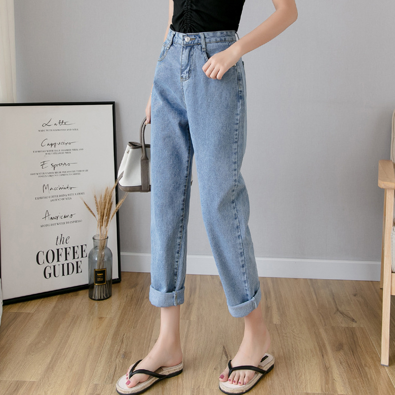 Jeans Women's Spring And Autumn 2019 New Style Harem Capri Pants Korean-style Loose-Fit Dad Pants Slimming Skinny Baggy Pants Fa