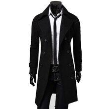 Роскошное мужское зимнее теплое длинное пальто, повседневный флисовый Тренч, Мужская плотная одежда, Тренч, куртка, Мужская одежда, приталенная, Abrigo Hombre