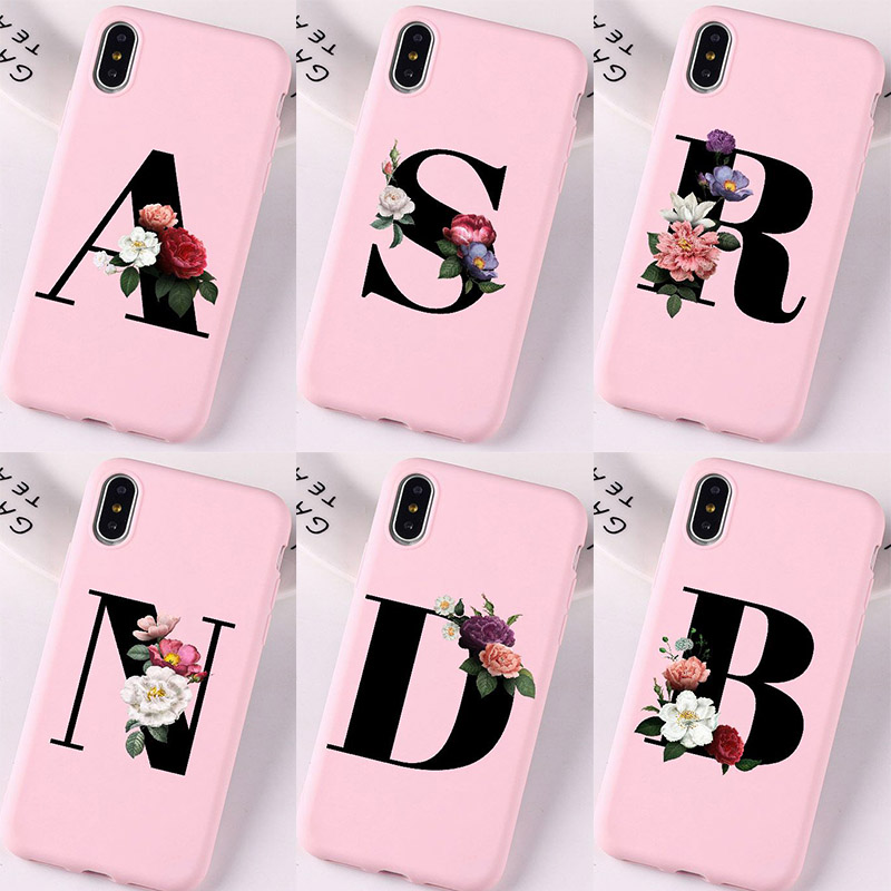 Letter Alphabet Flowers Print Floral Simple Baby Pink Cover Cases For iPhone X XR Xs 11 promax 6 6 s 7 8 Plus Coke Phone Covers(China)