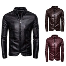 Motorcycle Leather Jacket Spring Autumn Men Slim Fite Zipper PU Mens Jackets Stand Collar