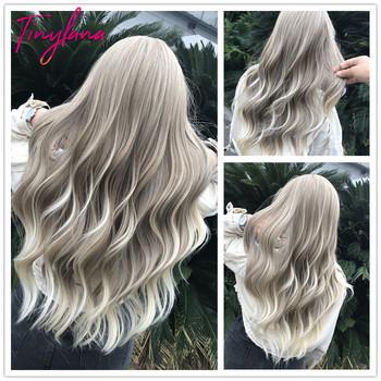 TINY LANA długie Ombre faliste peruki brązowy blond środkowa część Cosplay syntetyczne peruki z grzywką dla kobiet długie włosy peruki sztuczne włosy tanie i dobre opinie Wysokiej Temperatury Włókna Falista 1 sztuka tylko Średnia wielkość