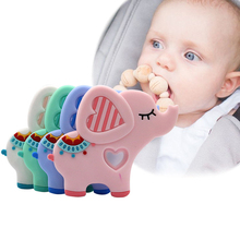Rattle Toys Elephant-Style Cartoon Silicone Bite-Stick Baby Teether Cute Infant 1pcs