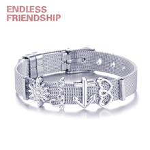 NEW Design 2019 Hot Silver Mesh Keeper Bracelet with Heart Anchor Slide Charms Stainless Steel Brand Bracelets for Women tdiyj newest collection silver stainless steel mesh keeper ing bracelet with crystal star cutout slide charms for women 1set
