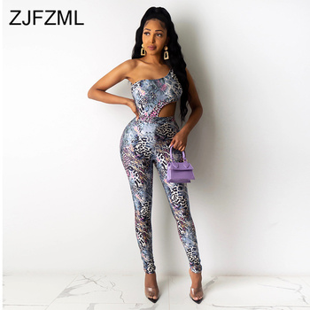 Snake Skin Print Two Piece Set Summer Clothes For Women One Shoulder Backless Bodysuit And Pencil Long Pant Sexy Beach Outfits snake skin print strapless bodysuit