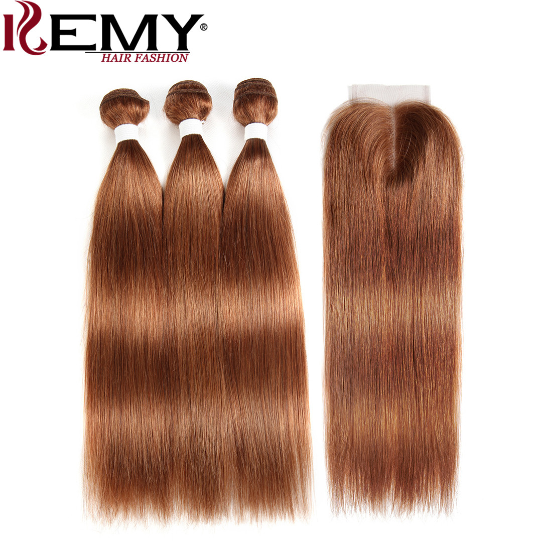 Brazilian Straight Human Hair Bundles With Closure KEMY HAIR 3PCS Brown Hair Weave Bundles With Closure Non Remy Hair Bundles-in 3/4 Bundles with Closure from Hair Extensions & Wigs