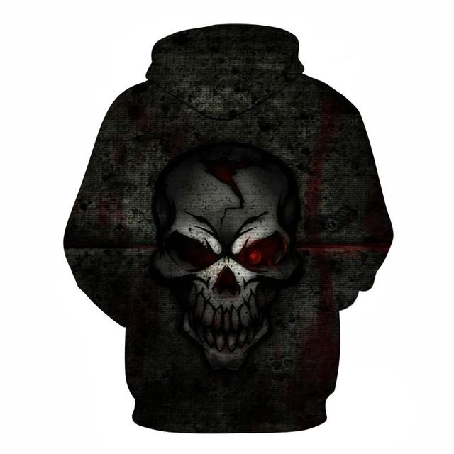 BLACK SKULL FACE 3D HOODIE