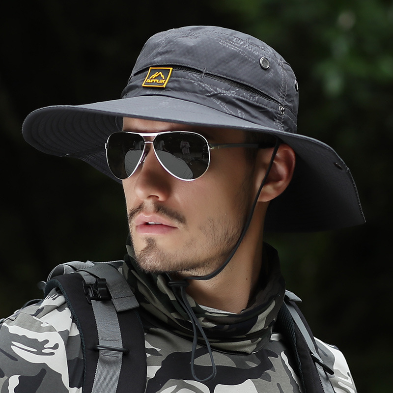 20020 New Summer Wild Fishing Hat Fashion Sunscreen Cap UV Protection Men's Casual Mountaineering Hat Outdoor Riding Cap