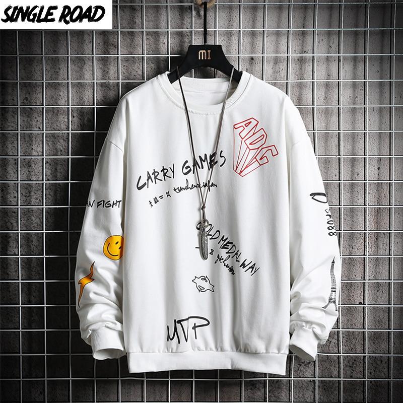 SingleRoad Crewneck Sweatshirt Men Spring Harajuku Japanese Streetwear Hip Hop White Hoodie Men Men's Hoodies Sweatshirts Male