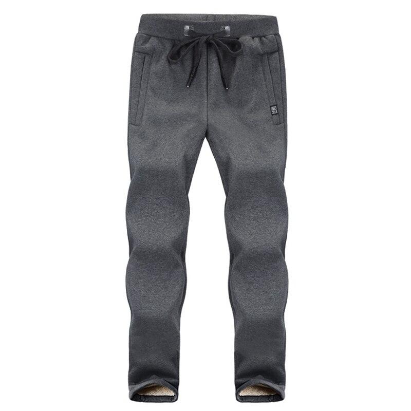 Зимние спортивные штаны для мужчин плюс бархатные теплые толстые теплые штаны из овчины мужские повседневные штаны 8XL 7XL 6XL 5XL - Цвет: Gray straight