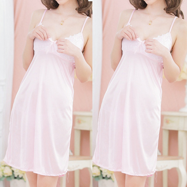 Nightwear Women Nightie Spaghetti Strap Night Dress Silk Lingerie  Lace Night Gowns Babydoll Lady Homewear Sexy Sleepwear#W