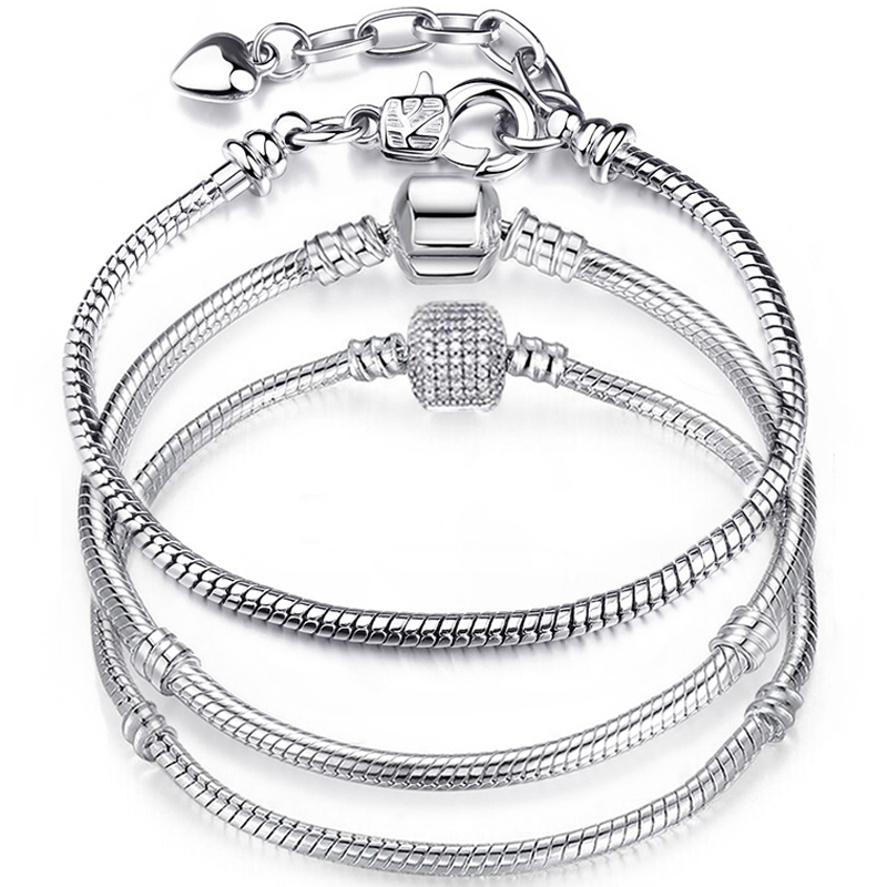Prata básica cobra corrente escondida fecho para charme pulseiras contas diy jóias fazendo pulseiras finas para feminino acessórios presente