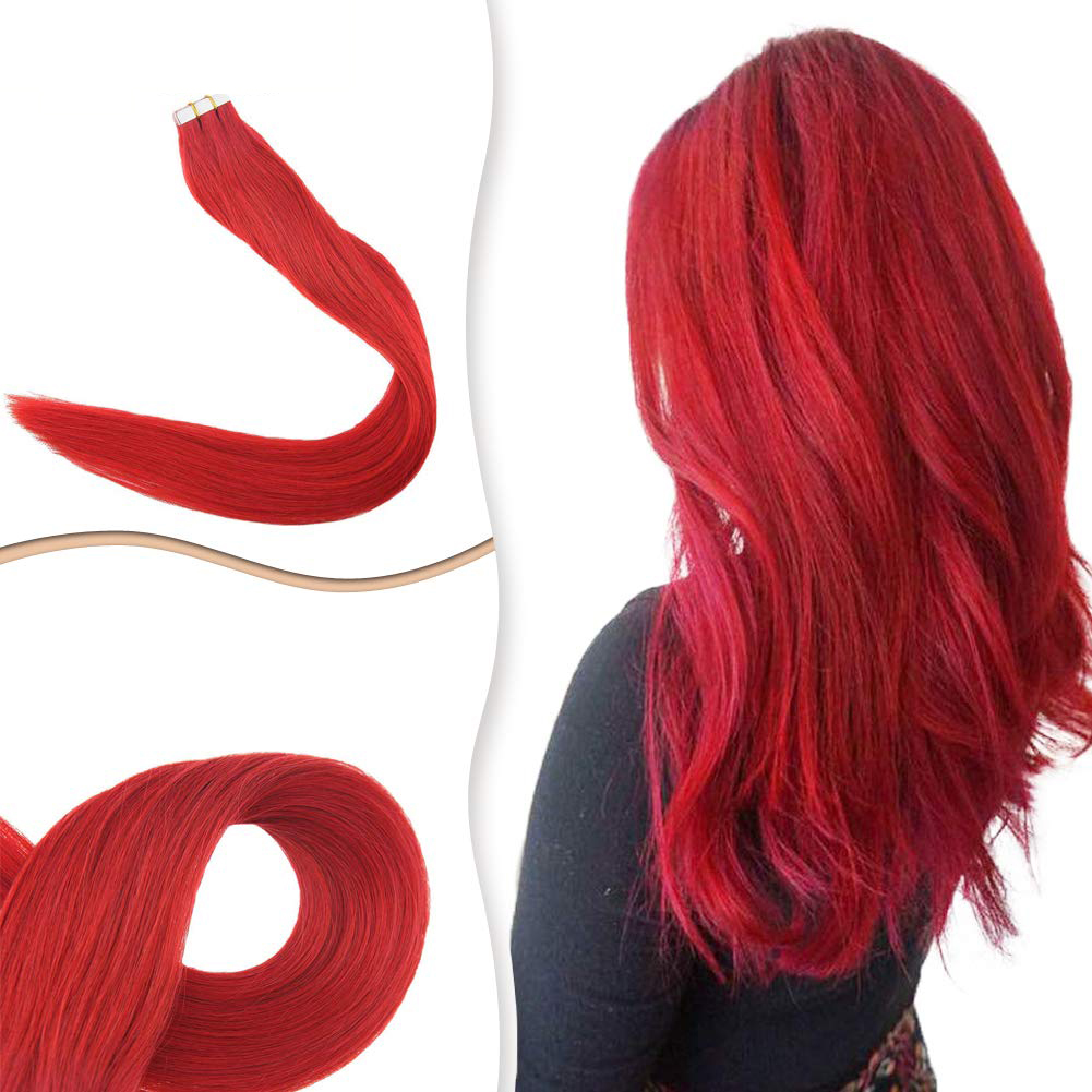 8A Grade Semi-permanent Tape In Human Hair Extensions Cooper Red Color Double Side Glue In Invisible Skin Wefts 20Pcs
