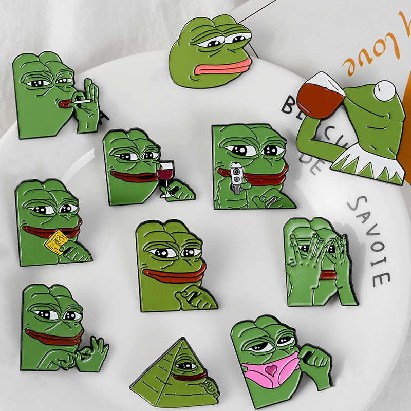 Sapo triste esmalte Pin divertido de la rana Pepe pasadores broches de dibujos animados Animal solapa insignias camisa Denim bolsa regalo de la joyería para las mujeres de los hombres