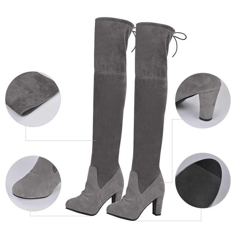 Litthing Nữ Đùi Cao Cấp Giày Da Lộn Thời Trang Da Giày Cao Gót Phối Ren Nữ Trên Đầu Gối Giày Boots 2019 Plus kích Thước 43