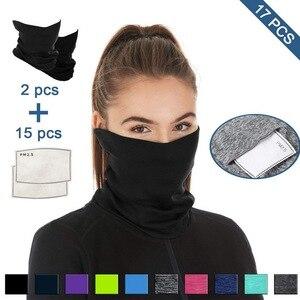 Osłona na twarz 17 szt. Filtr wielofunkcyjne nakrycie głowy sportowe opaski ocieplacz na szyję antypoślizgowe oddychające chusty na słońce UV bandany