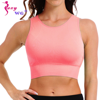 SEXYWG Top Women Yoga Shirts Breathable Mesh Shockproof Gym Running Sports Bra Solid Seamless Fitness Yoga Sport Bh Bra Top Vest