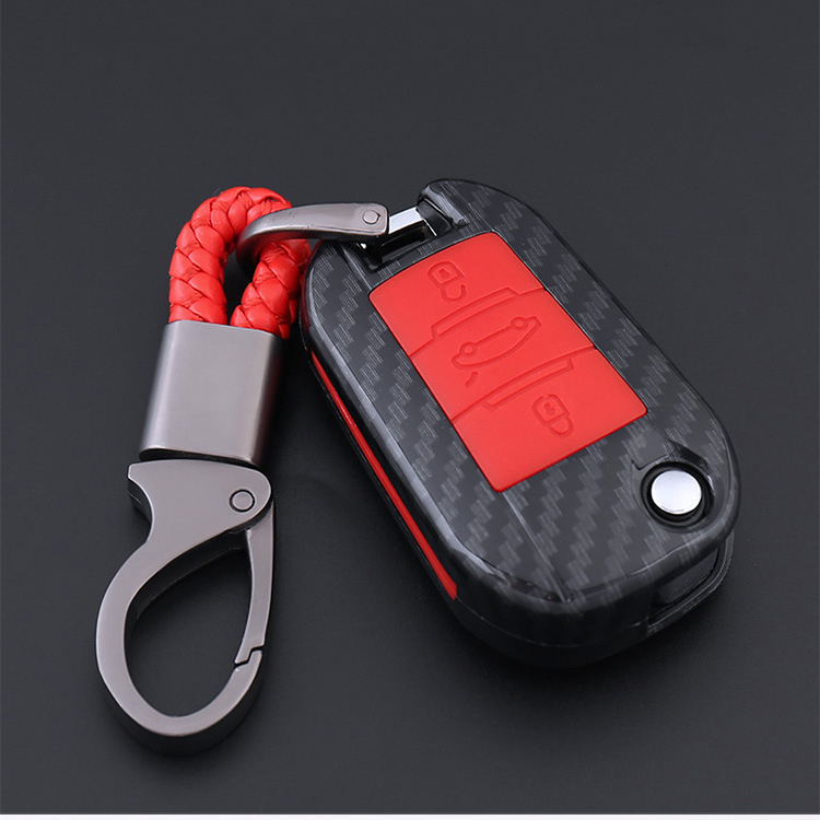 2019 Anti-Caída de fibra de carbono funda de silicona para la llave del coche para Citroen C4 Cactus C5 C3 C4L 508,2008 408, 3008, 5008, 308 C6 CACTUS DS4 DS5L