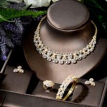 HIBRIDE Gorgeous Cute Butterfly Shape 3 Tones Stud Earrings Neckalce Set for Women Wedding Luxury Jewelry Accessories N-1789