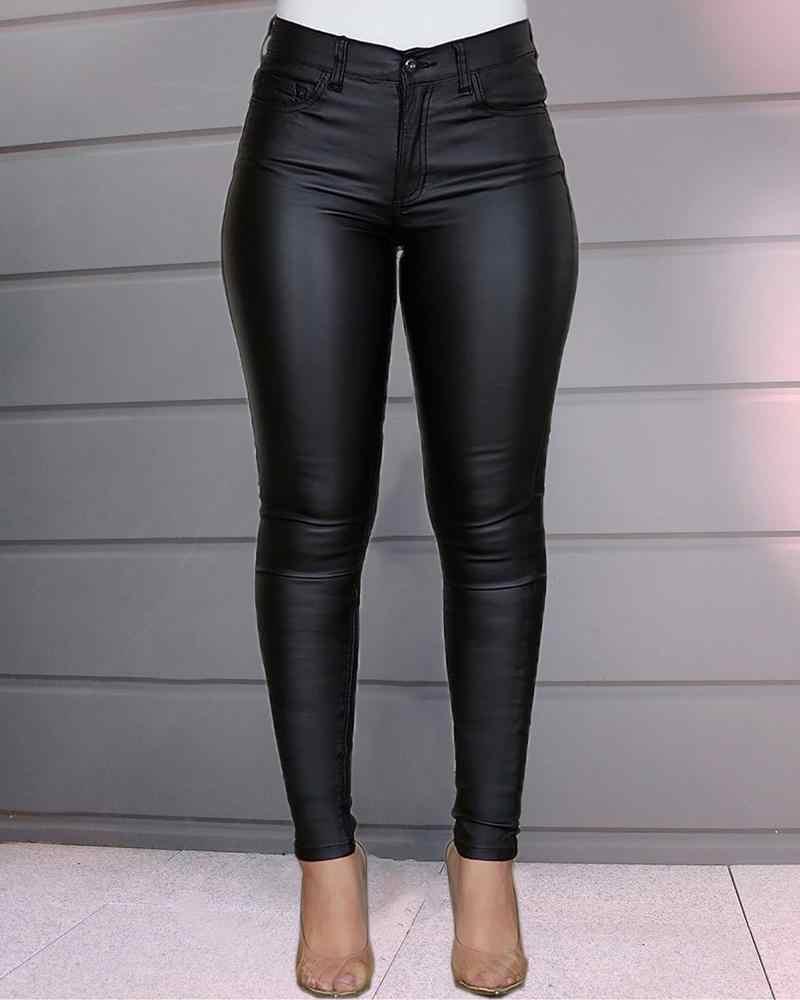Pantalones De Piel De Imitacion Para Mujer Pantalon Ajustado Tipo Lapiz Elastico Pantalones Y Pantalones Capri Aliexpress