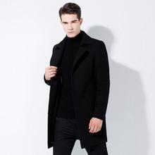 Men's woolen overcoat medium-length men's windbreaker black woolen overcoat men's woolen overcoat handsome woolen overcoat