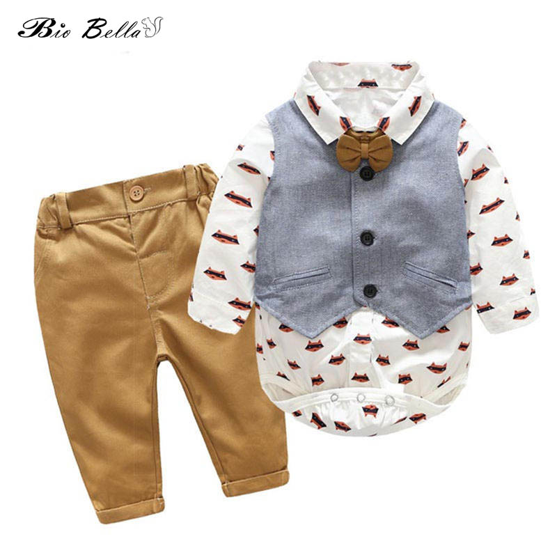 Newborn Toddler Baby Boy Gentleman Suit Spring Autumn Clothes Set Shirt+Pants+Vest 3pcs Outfits Kids Boys Clothing