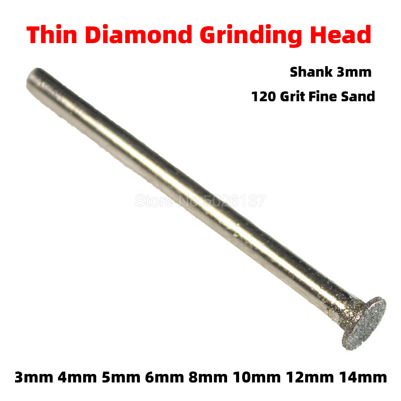 1Pcs 120 Grit Drill Electroplated Diamond Grinding Head Burrs Bit Rotary Mounted Point Shank Spherical Concave Jade Carving Tool