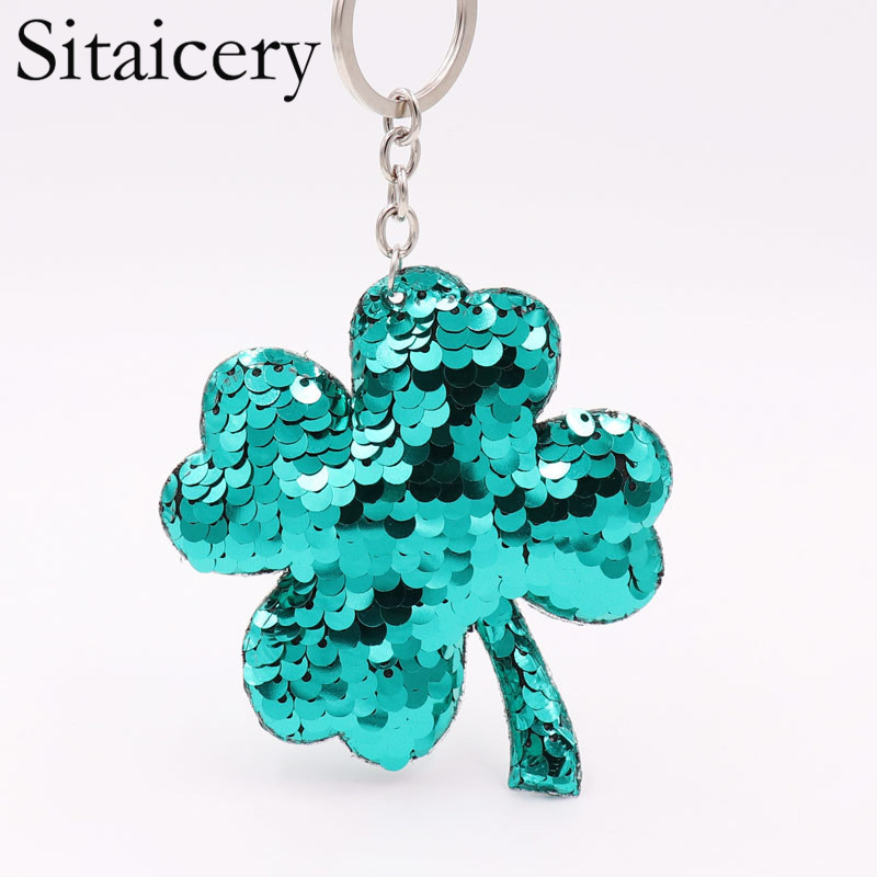 Sitaicery Four Leaf Clover Keychain Glitter Pompom Sequins Key Ring Gifts For Women Llaveros Mujer Car Bag Accessories Key Chain