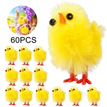 10、60PCS Mini Easter Chicks Decoration Yellow Easter Decoration Toy Spring Home Garden Decor Party Favors and Gifts for Kids