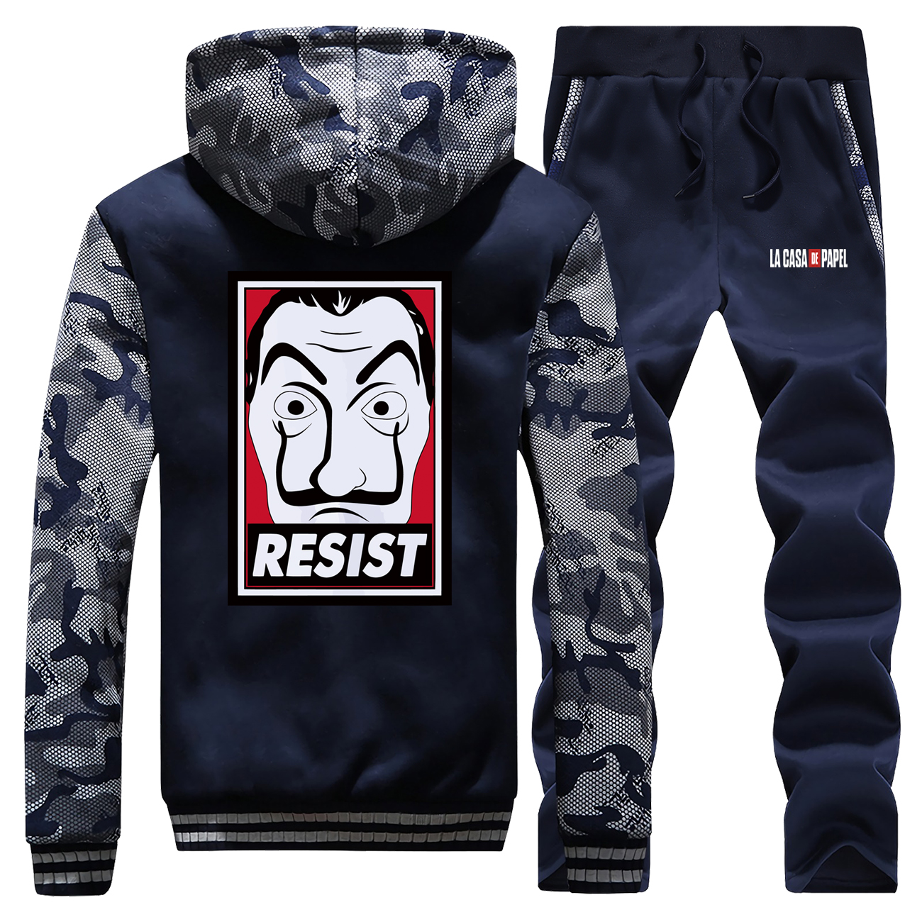 La Casa De Papel Thick Fleece Hoodie+Pants 2 Piece Sets Men Warm Suit Sweatshirt Hoodies Hip Hop Tracksuit Mens Winter Jacket