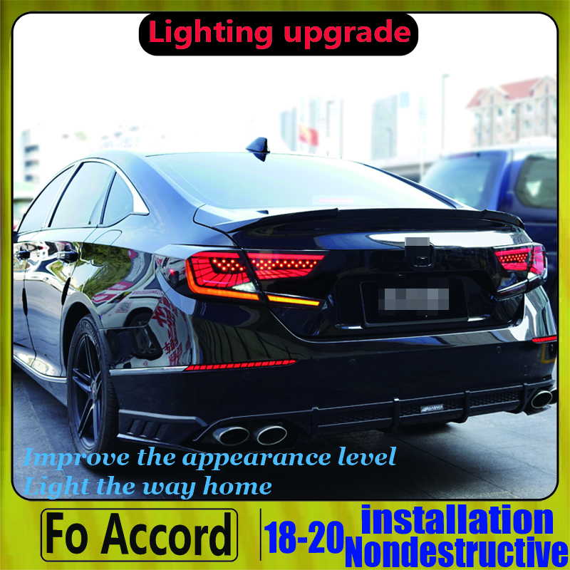Tenth Generation LED Strip Tail Light Full LED Rear Lamp For Accord G10 For Honda 2017 2018 2019 Red/Smoke Black