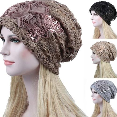 Fashion Lady Lace Muslim Ruffle Cancer Chemo Hat Beanie Scarf Turban Head Wrap Cap Hat