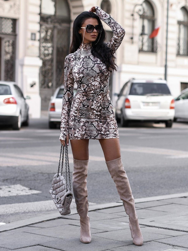 Fashion Women Autumn Snake Print Bodycon OL Mini <font><b>Dress</b></font> <font><b>Elegant</b></font> <font><b>Long</b></font> Sleeve Leopard Party Club <font><b>Sexy</b></font> Ladies <font><b>Dresses</b></font> Streetwear image