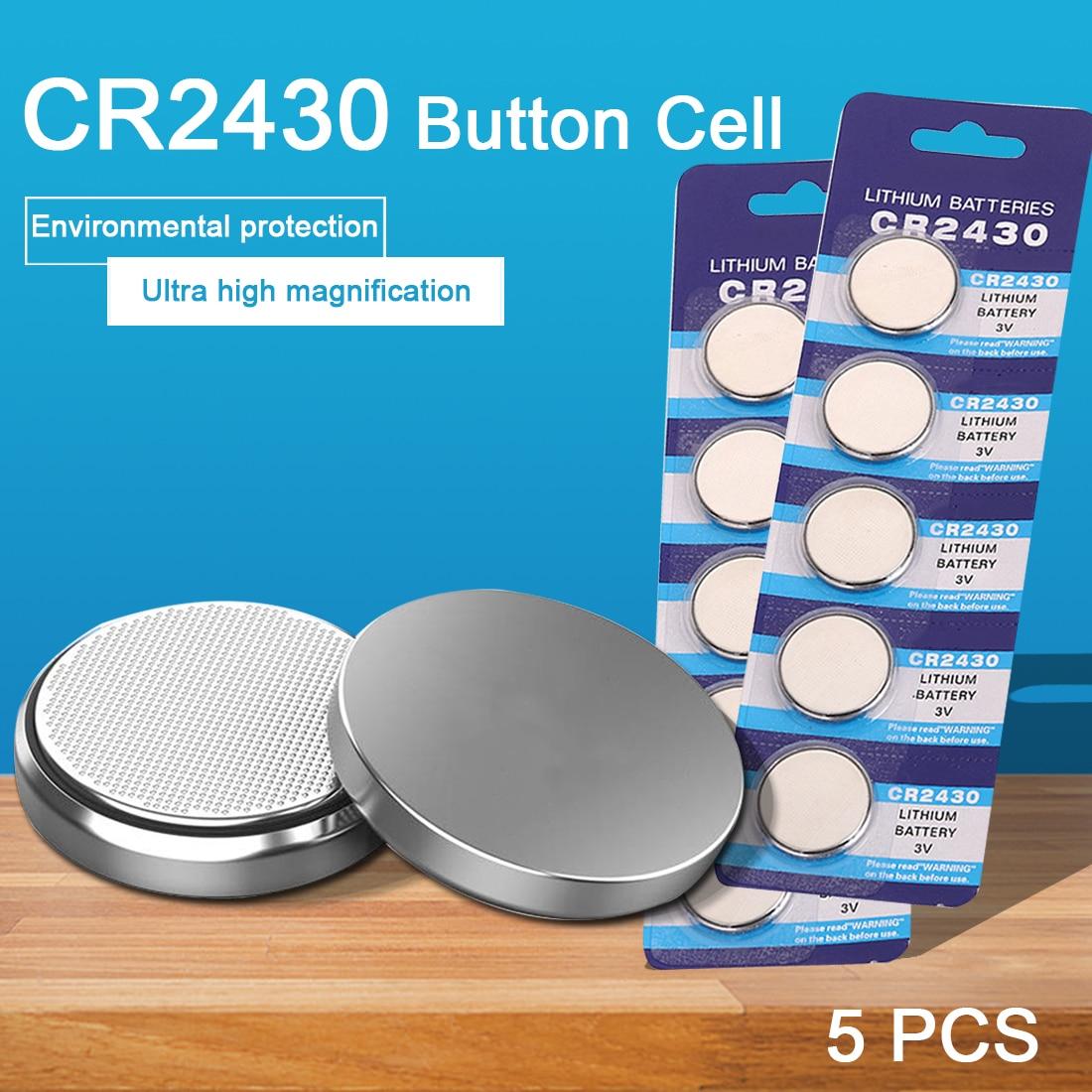 5 шт./упак. CR2430 часы Батарея Кнопка Батарея DL2430 BR2430 ECR2430 плоский круглый Аккумулятор Литиевые батареи для электронная игрушка часы