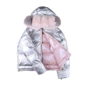 Image 5 - Nosić po obu stronach damska kurtka puchowa moda luźna lamówka nieregularne błyszczące kurtki typu Parka kobieta z kapturem ciepłe damskie kurtki zimowe