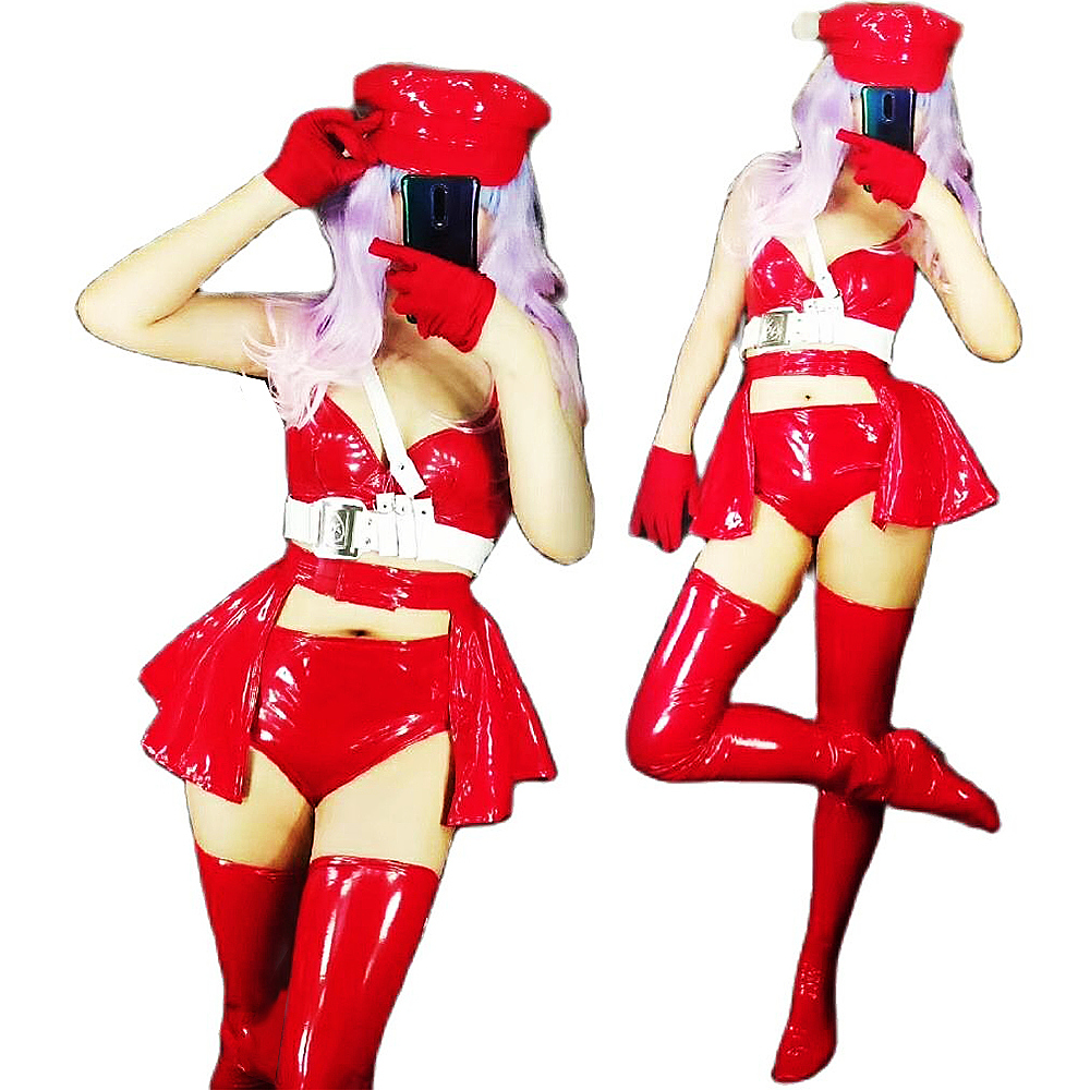 Personality New Red Coat of Paint Shorts Tops Set Nightclub Singer Dancer Performance Stage Wear Birthday Celebration Outfit