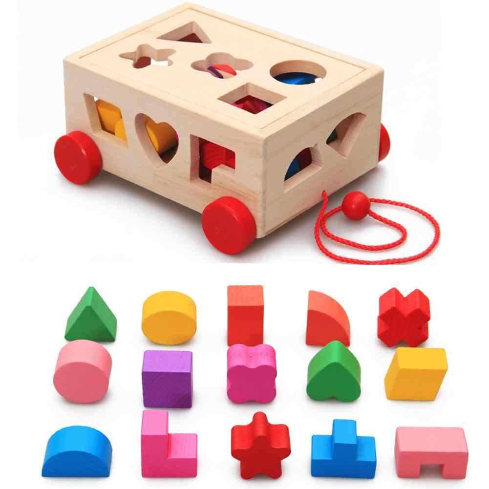 Clasificador de forma de bloques de madera que camina a lo largo del coche modelo hecho a mano juguete educativo para niños juguete de forma de conocimiento regalo para bebés