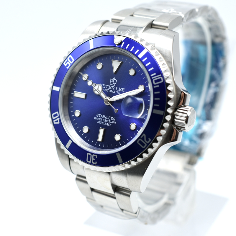 H829f2337ee534117b5a52713c86f2a1dY Ceramic bezel luminous mechanical automatic men watches top brand luxury PETER LEE daydate stainless steel men hand wind watch