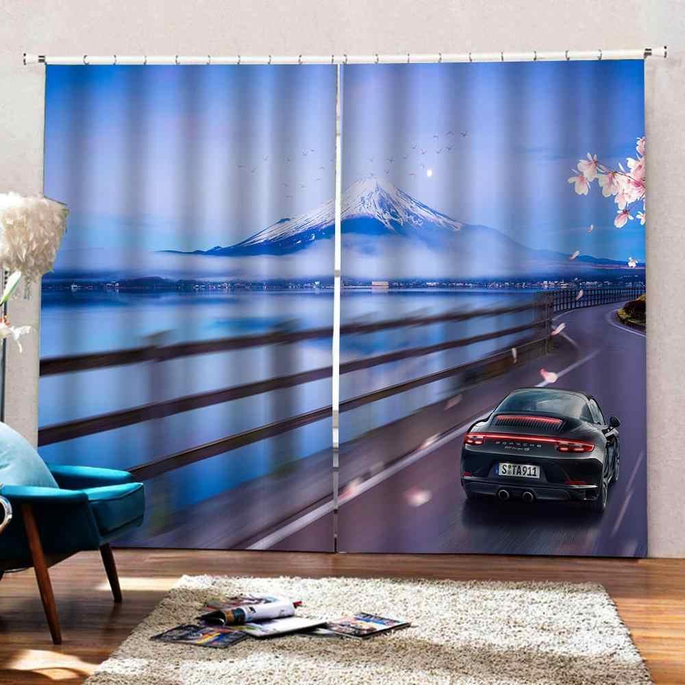 ブルー backgrond 道路マウンテンカーテン 3D 窓カーテン贅沢なリビングルーム飾るコルティーナ