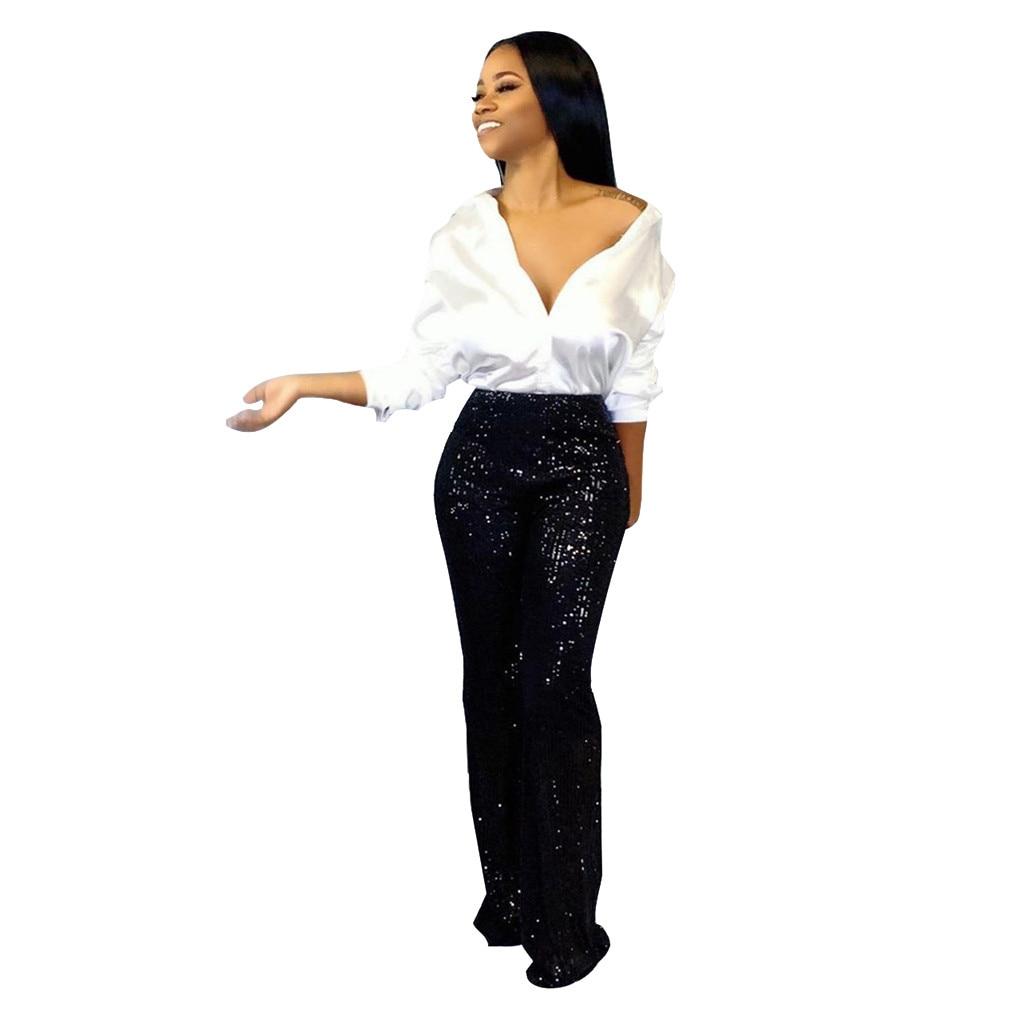 Nueva Llegada De Moda Dama Talle Alto Pantalones Estilo Sexy Tela De Lentejuelas De Talla Grande Pantalones Venta Zhenskie Bryuki 2019 Pantalones Y Pantalones Capri Aliexpress