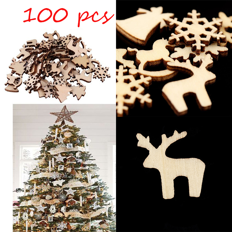 100pcs Christmas Tree Decorations 10 Styles Wooden Hanging Christmas Pendant Drop Ornaments Xmas Navidad Decor 2020 New Year F