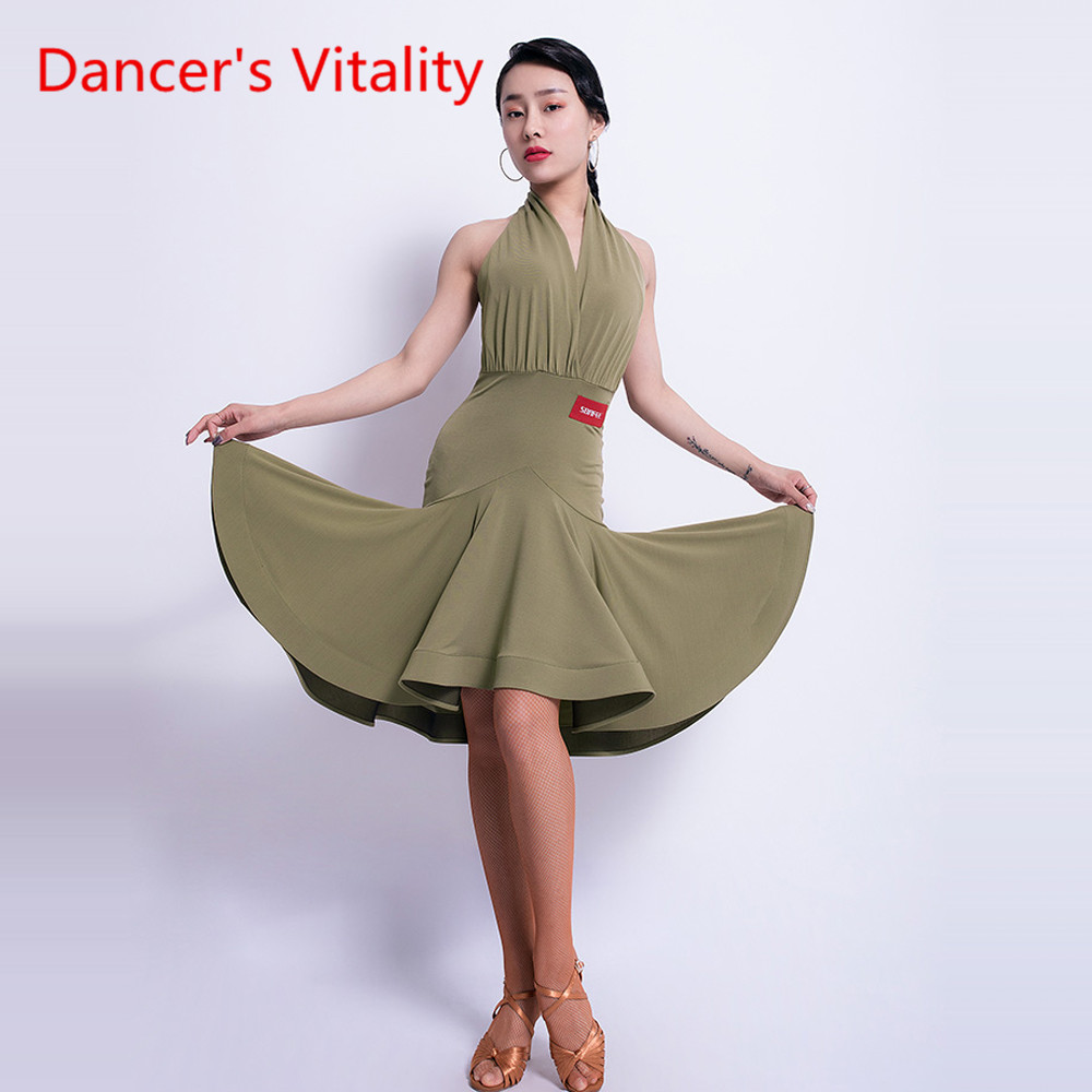 Sexy Latin Dance Dress Female Adult Dress Backless Sleeveless Performance Costume Practice Competition Clothes