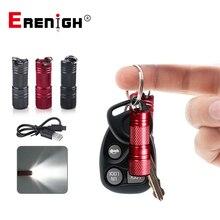 미니 led 손전등 usb 충전식 소형 램프 휴대용 방수 키 체인 토치 라이트 슈퍼 작은 랜턴 10180 배터리