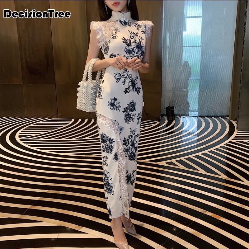 2020 Women Evening Party Dress Gown Elegant Long Qipao Lace Sleeveless Cheongsam Chinese Style Printing Flower Wedding Dress