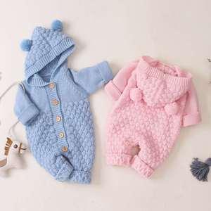 Новинка, Осенний Вязаный комбинезон Детский костюм, толстовка с капюшоном для малышей комплекты одежды для новорожденных девочек и мальчиков, комбинезон для маленьких детей, зимняя одежда для младенцев, на возраст от 3 до 24 месяцев