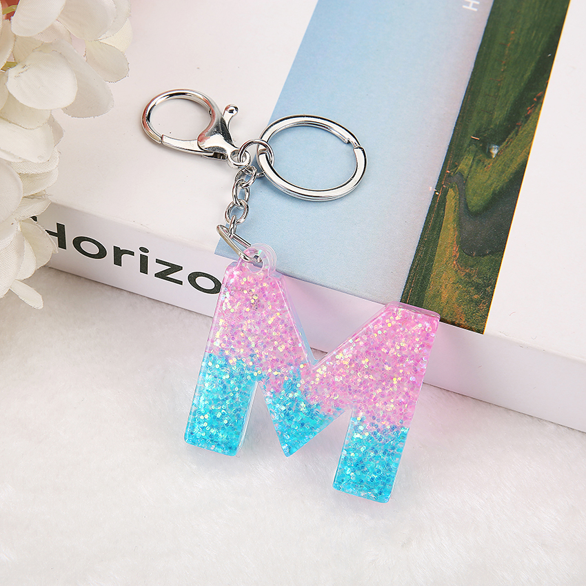 1PC Women Keychain Keyring English Letters English Words Glitter Flatback Resin  Pendant Handbag Charms  Custom Made Welcome