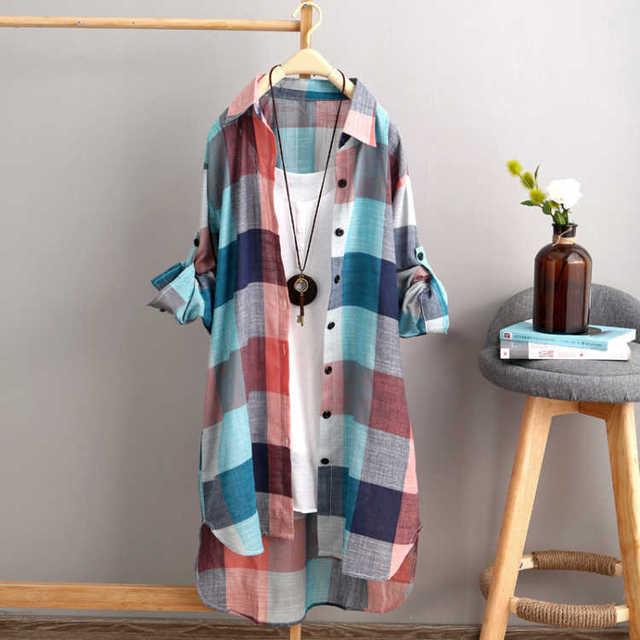 Summer Autumn Fashion Oversized 5xl Long Plaid Shirt Women Chic Checked Blouse Long Sleeve Female Loose Casual Shirts  Blusas 1