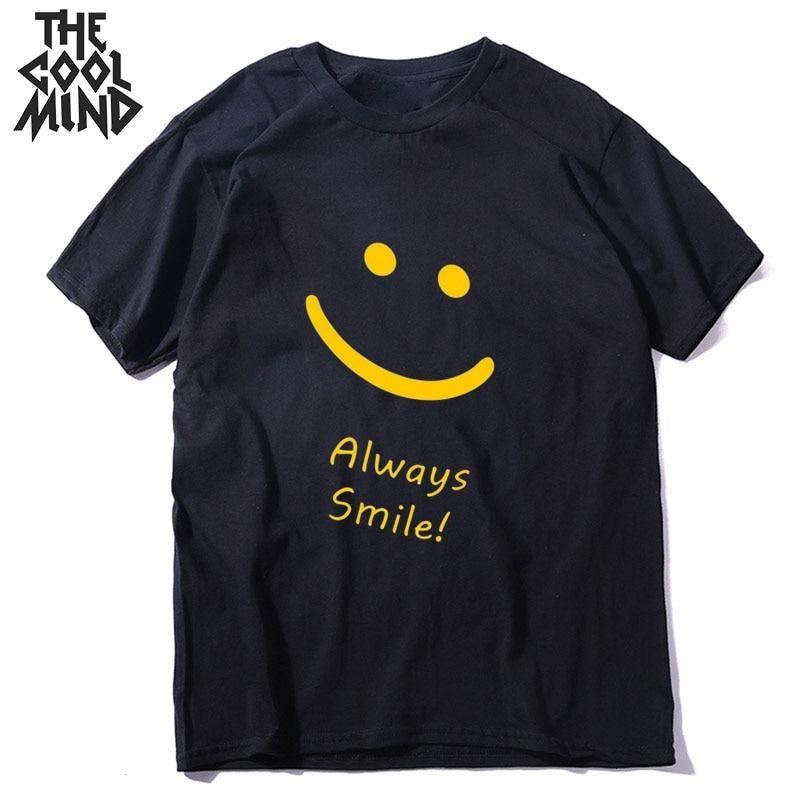COOLMIND 100% cotton streetwear always smile men T shirt casual shot sleeve men t-shirt o-neck tshirt men tee shirts tops