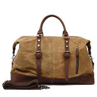 Durable Canvas Hand Travel Bag Unisex Duffles Bag Trip Shoulder Bag Leather Patchwork Luggage Bag Large Capacity Weekend Bags